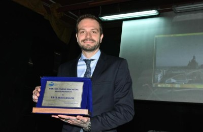 Paul Baccaglini, riceve il premio giornalistico dedicato a Mario Francese, ucciso a Palermo dalla mafia nel '79, Palermo, 27 Marzo 2017. ANSA