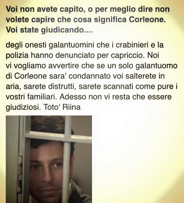 Salvatore Riina (foto tratta dal post presente sulla pagina facebook Pane e Malavita)