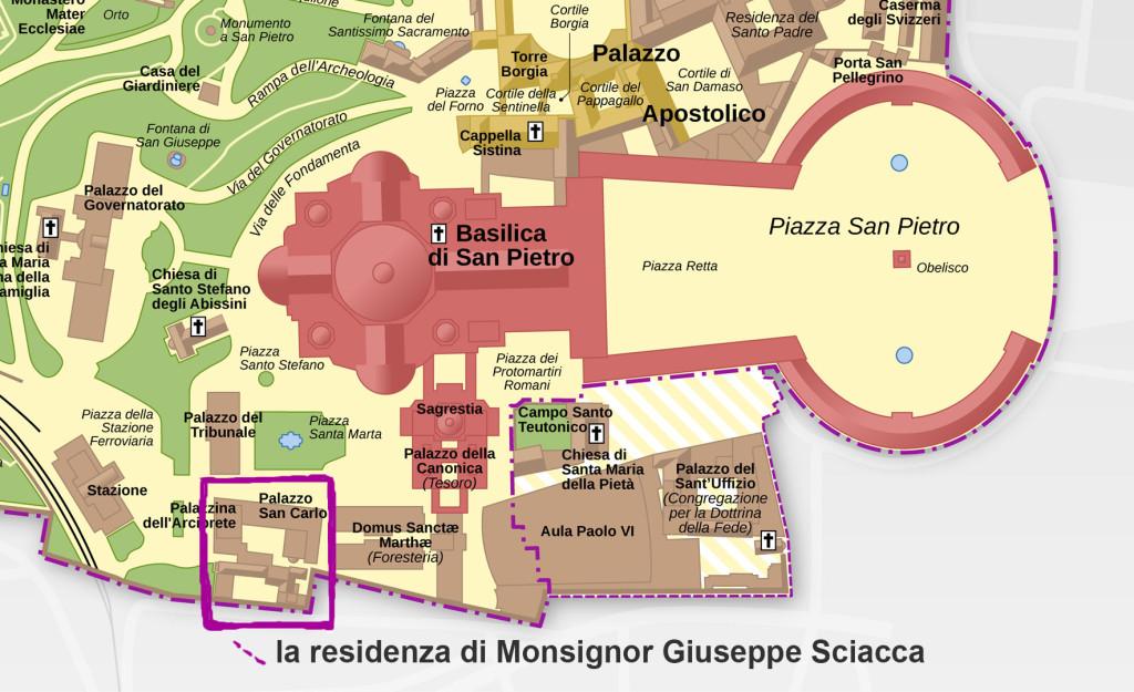 Città del Vaticano. Evidenziato in magenta palazzo San Carlo residenza di Monsignor Sciacca