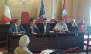 Alessandro Baccei, assessore regionale all'economia tra il sindaco di Barbagallo e il deputato D'agostino