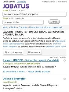 L'offerta di lavoro per un dialogatore Unicef presso l'aeroporto di Catania