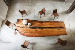 tavolo legno scorniciato
